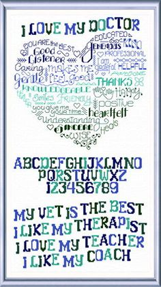 (^_^) $5.99 download pattern - Lets Like my Doctor - cross stitch pattern designed by Ursula Michael. Category: Words.