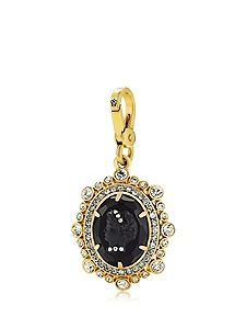 """CAMEO CHARM WAS $48.00 NOW $34.99 STYLE NUMBER: YJRU7159 Offer Take 30% Off Jewelry DESCRIPTION This charm updates the classic cameo, the Juicy way. Juicy logo on lobster clasp. Gold tone. 1.46"""" L X 1.13"""" W X 0.36"""" H Imported Cz W/Base Metal/Glass/Plastic"""