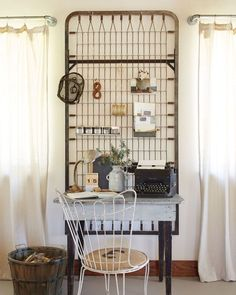 An unusual and whimsical home office space complete with old bed springs as a peg board for found curios to decorate the space. Farmhouse Windows, Farmhouse Wall Decor, Farmhouse Style Decorating, Farmhouse Design, Interior Decorating, Decorating Ideas, Farmhouse Renovation, Interior Design, Bureau Shabby Chic