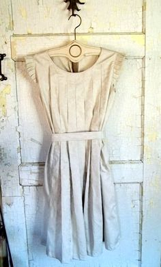Country Fried French Quarter Boho Style Ruffle Dress or Pinafore in Linen $120