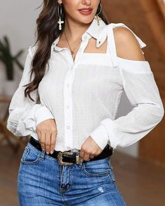Ruffles, Look Plus Size, Cool Outfits, Fashion Outfits, Online Shopping For Women, Womens Fashion Online, Daily Look, White Fashion, Pattern Fashion