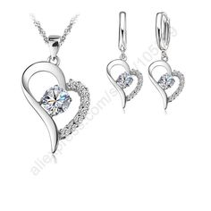 Never Run Color Platinum Plated Jewelry Sets 925 Sterlng Silver Cubic Zircon Heart Shaped Pendant Necklace Earrings Set