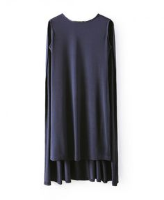 Dark Blue Smock Dress, $26 at Chicnova. It's hard to look sharp when all you want to do is wear loose-fitting jersey. Try this dress: It sports a caped back that you can belt or let drape just as-is for an unusual look that still feels cool. Pair with silver sandals and matching shades.