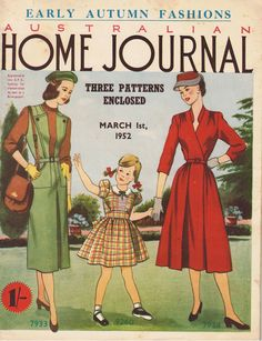 Australian Home Journal March 1952 vintage magazine sewing knitting patterns paper pattern----wall art