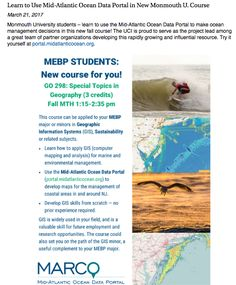Learn to Use Mid- Atlantic Ocean Data Portal in New Monmouth U. Course