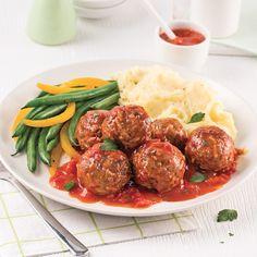 Boulettes de viande et riz, sauce tomate - 5 ingredients 15 minutes Meatball Recipes, Meat Recipes, Cooking Recipes, Yummy Recipes, Recipies, Confort Food, Albondigas, Jewish Recipes, Main Dishes