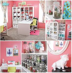 Office//Craft Space LOVE this rose blush colour on the walls. Craft Desk, Craft Space, Craft Rooms, Space Crafts, Craft Room Closet, Craft Organization, Organizing, Diy Workshop, Ikea Office