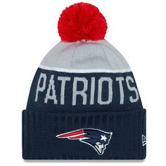 Men s New England Patriots New Era Navy 2015 On-Field Sport Knit Hat with  Pom e2553e66703