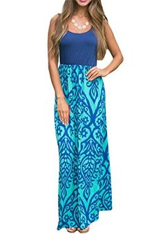 Aimur Women Casual Classic Long Hem Sleeveless Soft Cami Maxi Dress AILC61477 *** Continue to the product at the image link. Chevron, Empire, Sexy, Plus Size, Boho, Tank Tops, Clothes For Women, Casual, Skirts