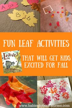 "Celebrate the Fall season with fun leaf activities and craft projects paired with David Ezra Stein's ""Leaves""! #FallActivities #FallCrafts #LeafArt #ToddlerCrafts #LetterRecognition"