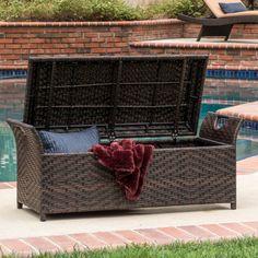 Outdoor Patio Furniture-wicker Storage Bench-porch Garden Pool Deck Storage Box