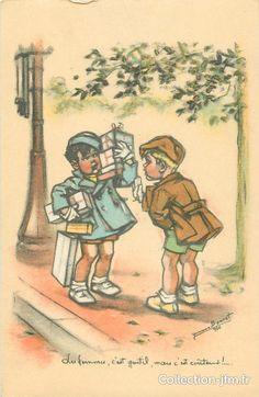 """CPA G. BOURET """" Les femmes c'est gentil, mais c'est couteux .... ! """"   cartes postales anciennes : g. bouret   Ref: 11951   collection-jfm.fr"""