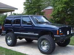 Image result for jeep cherokee blue lifted