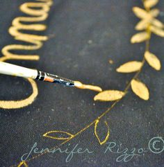 Holiday pillow idea: paint on black fabric with gold paint.  So pretty!