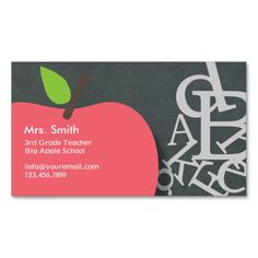 Apple and Letters Chalkboard School Teacher Business Card. This great business card design is available for customization. All text style, colors, sizes can be modified to fit your needs. Just click the image to learn more!