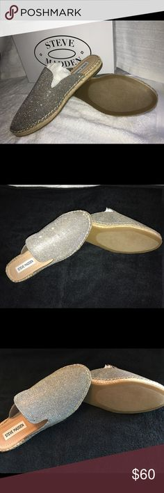 Steve Madden Mules / Slides Never worn! Beautiful color- silver & gold (took pictures with flash off & on). I bought a size 7 online (these), but they were a little narrow so I bought a size bigger! Love them & get compliments always. Can dress them up or down❤ Steve Madden Shoes Mules & Clogs