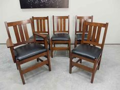 L & J G Stickley Oak Slat Back Mission Dining Chairs Antique Dining Chairs, Restoration Hardware Dining Chairs, Camping Chairs, Butterfly Chair, Antiques, Key, Furniture, Design, Home Decor