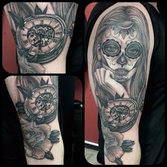Catrina clock tattoo By Juan David Castro R Tattoo 2015, Cool Tattoos, Skull, David, Clock, Portrait, Nova, Watch, Headshot Photography