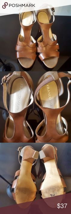 Franco Sarto Brown Leather Heels Franco Sarto Brown Leather Ankle strapped heels.... great condition Franco Sarto Shoes Heels