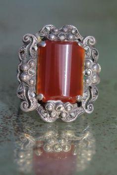 Vintage Jugendstil 925 Sterling Silver Carnelian Marcasite Ring Art Deco   eBay