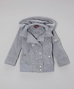 Take a look at the Heather Gray Double-Breasted Hooded Jacket - Toddler & Girls on #zulily today!