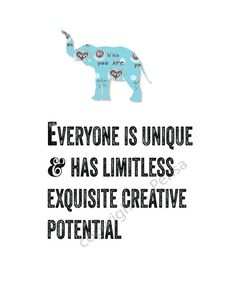 INSPIRATIONAL Quote Elephant Creative Potential by ArtThatMoves, $12.00