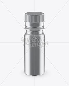 Metal Sport Nutrition Bottle Mockup - Front View (High-Angle Shot)