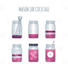 How to make cocktail in mason jar. Recipe summer cocktail in mason. Fruit Of The Spirit, Cocktail Making, Summer Cocktails, Free Vector Art, Soda, Mason Jars, Royalty, Bottle, Illustration