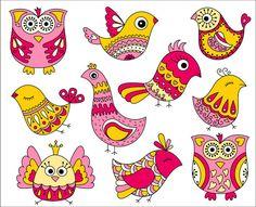 Oiseaux roses et jaunes Doodle mignon Clip Art par YarkoDesign