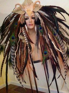 MADE TO ORDER Fantasy Woodland fairy nymph goddess headdress headpiece gaga steampunk burlesque costume. $699.00, via Etsy.