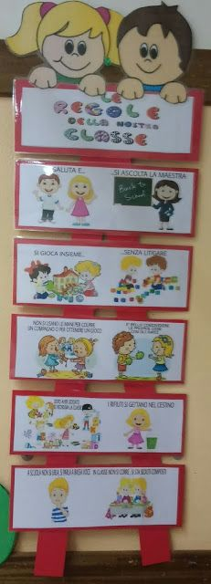 BLOG DELLA MAESTRA FRANCY: LE REGOLE......IL CARTELLONE School Life, Sunday School, Activities For Kids, Crafts For Kids, Welcome To School, Tips & Tricks, Learning Italian, School Decorations, Beginning Of School