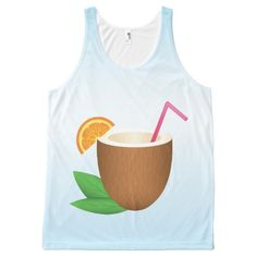 Tropical Coconut Drink All-Over Print Tank Top Tank Tops