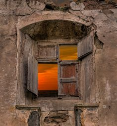 "/ Photo ""la finestra"" by antoni targarona i gibert Old Buildings, Abandoned Buildings, Abandoned Places, Old Windows, Windows And Doors, Wooden Windows, Window View, Through The Window, Old Doors"