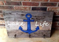 Lake Life Reclaimed Wood Art with Hooks