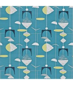 Sanderson Mobiles Slate Blue/Lime 210215 Behang