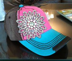 Brown/Pink/Turq Bling Cap $40 To order email simplychictoo@gmail.com