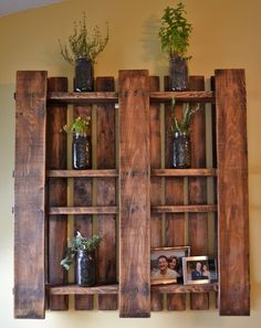Wood stained pallet made into a shelf!