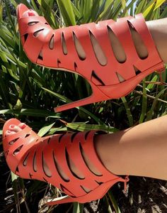 cutout heel, coral cutout, cutout booti, coral shoe