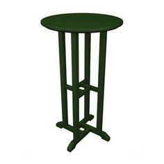 Polywood 24-In W X 24-In L Round Plastic Bar Table Rbt124gr