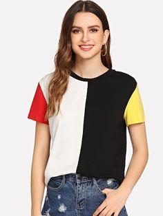 Cut and Sew Short Sleeve T-shirt -SheIn(Sheinside) Tee Shirt Designs, Blouse Designs, Sewing Shorts, Color Blocking Outfits, T Shirt Painting, Fashion Sale, T Shirts For Women, Clothes For Women, Shirt Style