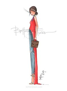 red | Carrie Bradshaw Lied | Kathleen Barnes | fashion illustration | what to wear this spring | distressed jeans | neck scarf | how to style a silk scarf | Brittany Fuson