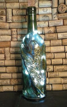 #Wine Bottle Light  upcycled green wine bottle by TheHomemadeCandle, $28.00