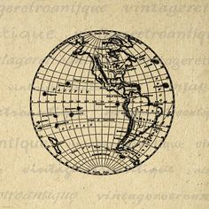 Digital Printable Earth Globe Image Western Hemipshere Map Download Graphic Antique Clip Art. High quality digital illustration. This vintage printable digital image is high resolution for making prints, fabric transfers, t-shirts, tea towels, papercrafts, and more. This digital image is high quality, large at 8½ x 11 inches. A Transparent background png version is included.