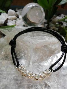 Men's Sterling Silver 925 Bracelet in Byzantine w Leather Strap Bracelets For Men, Silver Bracelets, Chain Bracelets, 925 Silver, Silver Rings, Sterling Silver, Handmade Jewelry, Unique Jewelry, Byzantine