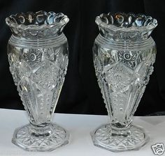 "Two Vintage Pres cut Vases. 6 1/4"" Tall. $9.99 + Shipping"