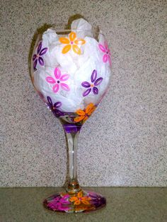 Flowers Hand Painted Wine Glass by GlassworksbyLena on Etsy, $15.00