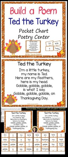 Ted the Turkey Thanksgiving Build a Poem