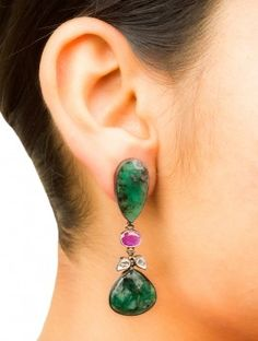 Emerald-Ruby Drop Silver Earrings