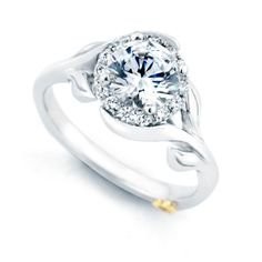 Mark Schneider Bloom 1.18cttw halo diamond engagement ring with floral shank from Mullen Jewelers