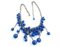 Vintage Cobalt Bib Necklace • Blue Glass Beads • Antiqued Link Collar • Bohemian Victorian Art Deco by KatesChockfullAttic on Etsy